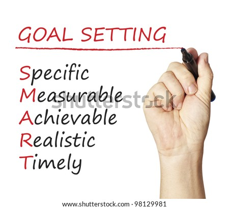 Hand writing smart goal - stock photo