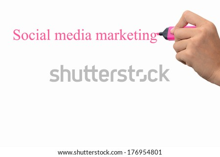 Hand writing Social media marketing concept  - stock photo