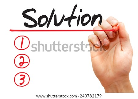 Hand writing Solution List with red marker, business concept - stock photo