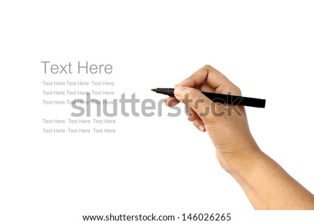 hand writing some text in white background - stock photo