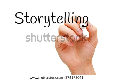 Hand writing Storytelling with black marker on transparent wipe board.