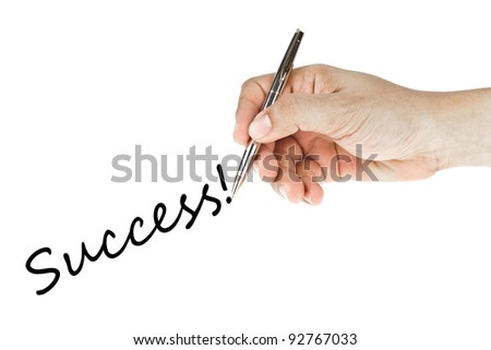 hand writing success word - stock photo