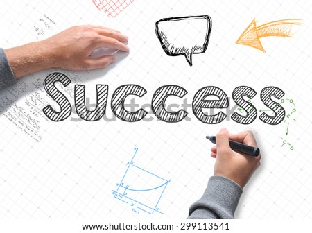 Hand writing Success word on white sheet of paper - stock photo