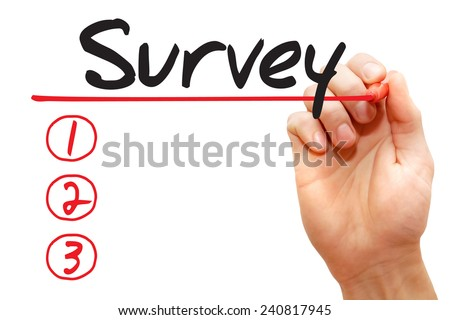 Hand writing Survey List with red marker, business concept - stock photo