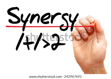 Hand writing Synergy 1+1>2 with marker, business concept