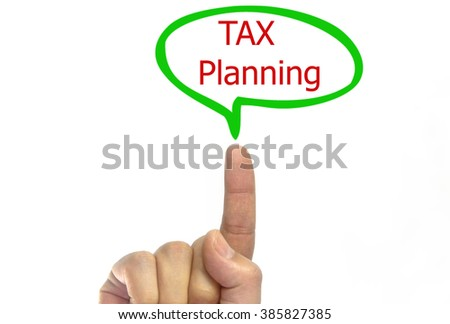 Hand writing Tax planning with green talking bubble on transparent wipe board. isolated on white background - stock photo