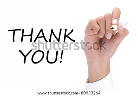 hand writing thank you on white - stock photo