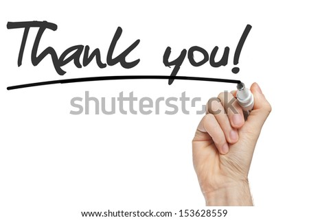 Hand writing Thank You with black marker on transparent wipe board. - stock photo