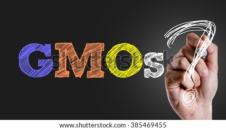 Hand writing the text: GMOs? - stock photo