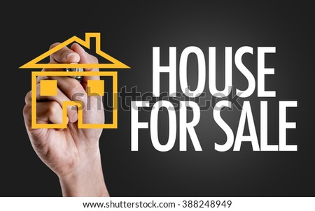Hand writing the text: House For Sale - stock photo