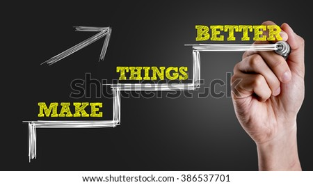 Hand writing the text: Make Things Better - stock photo