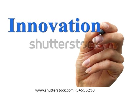 hand writing the word innovation isolated on a white background - stock photo