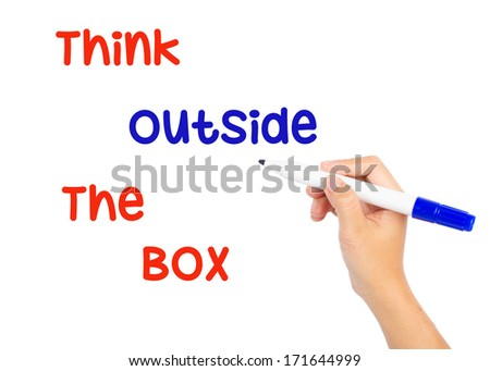 Hand writing think ouside the box with blue marker on white boar - stock photo