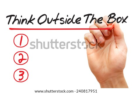Hand writing Think Outside The Box List with red marker, business concept - stock photo