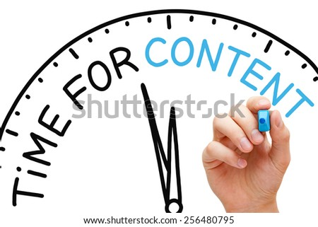 Hand writing Time for Content concept with blue marker on transparent wipe board. - stock photo