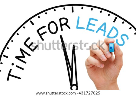 Hand writing Time for Leads with marker on transparent wipe board. Lead generation concept. - stock photo