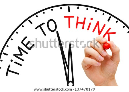 Hand writing Time to Think concept with red marker on transparent wipe board. - stock photo