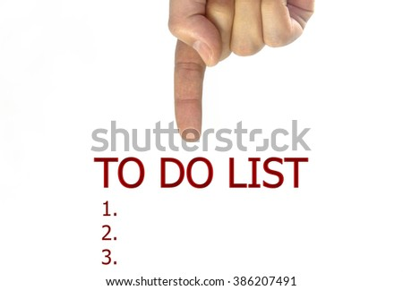 hand writing to do list on a transparent wipe board. isolated on white background - stock photo