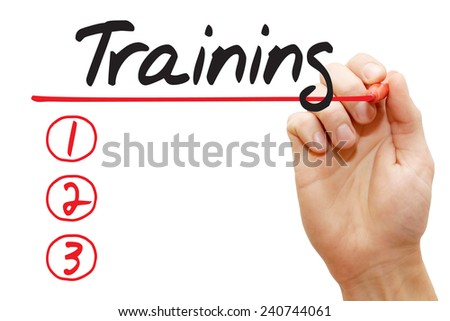 Hand writing Training List with red marker, business concept - stock photo