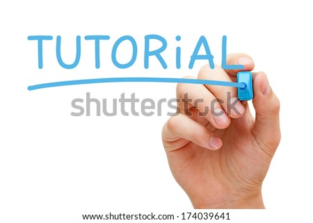 Hand writing Tutorial with blue marker on transparent wipe board. - stock photo