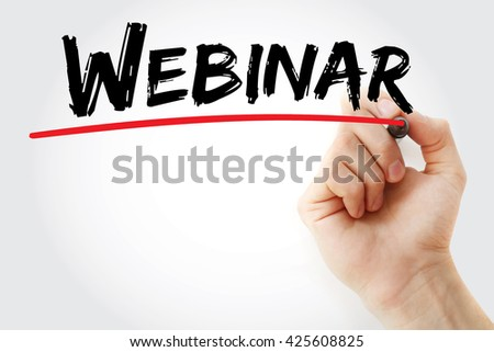 Hand writing Webinar with red marker, business concept - stock photo