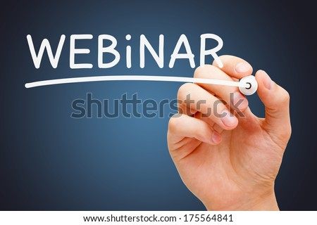Hand writing Webinar with white marker on transparent wipe board. - stock photo