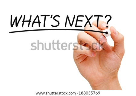 Hand writing What's Next? with black marker on transparent wipe board. - stock photo