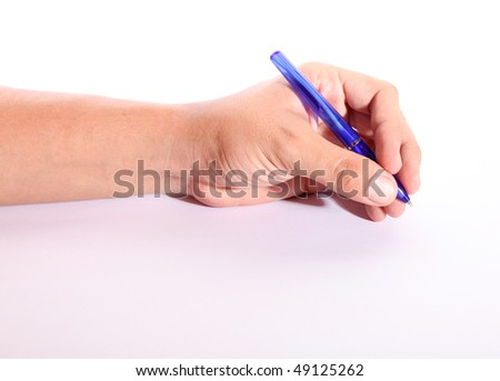 Hand writing with blue pen over white background