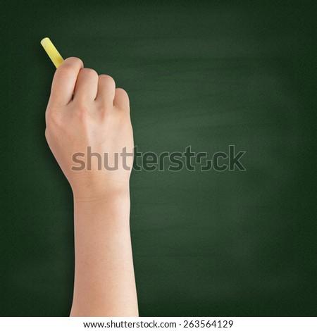 Hand writing with chalk on blackboard - stock photo