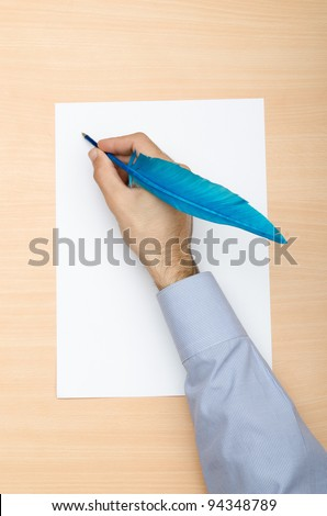 Hand writing with colourfil quill
