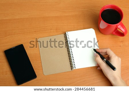 hand writing with pen - stock photo