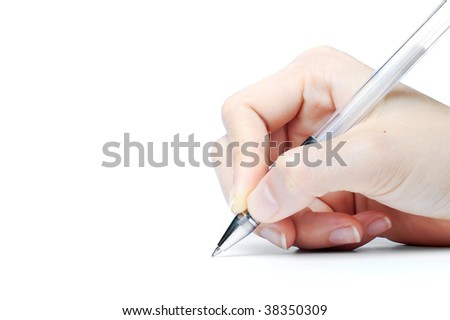 Hand writing with pen, shot with macro and isolated on white. - stock photo