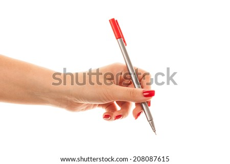 hand writing with red pen isolated on white