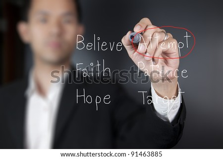Hand writing word attempt - stock photo