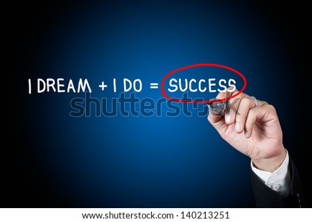 Hand writing word dream and success concept - stock photo