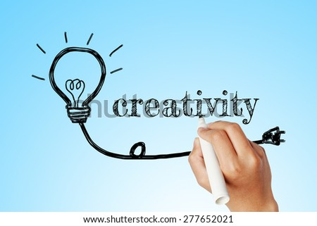 hand writing word of  creativity with lightbulb background
