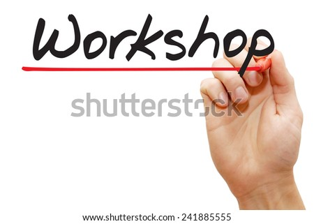 Hand writing Workshop with red marker, business concept - stock photo
