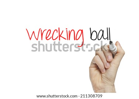 Hand writing wrecking ball on a white board - stock photo