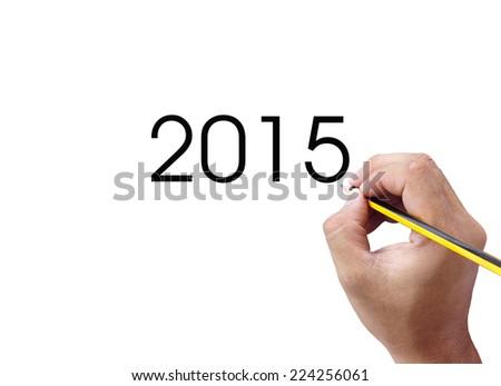 hand writing year 2015  - stock photo