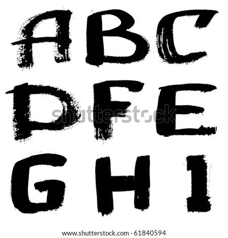 Hand written black ink alphabet - stock photo