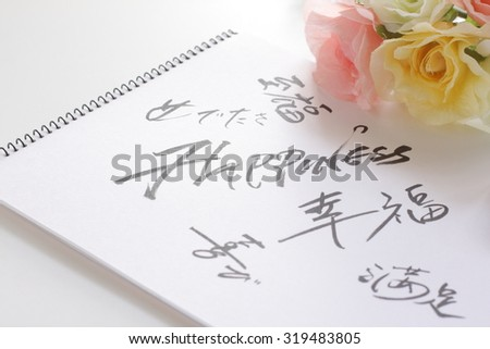 Hand written Happinese with all the same meaning in Japanese for background image