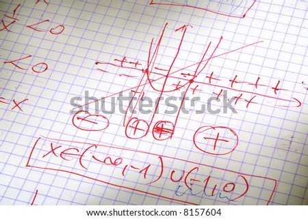 hand written maths calculations in red - stock photo