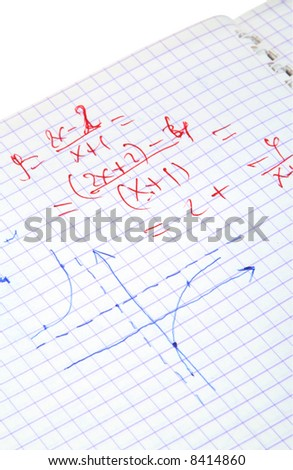 hand written maths calculations isolated on white - stock photo