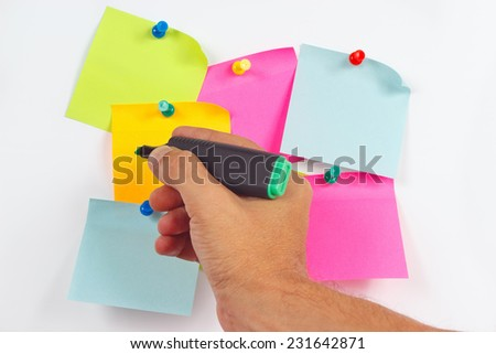 Hand written notes a green marker on a orange sticker on a white message board - stock photo
