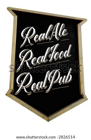 Hand-written pub sign on white. - stock photo