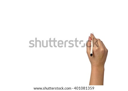 Hand writting on a glass by a felt tip pen isolated on white background - stock photo