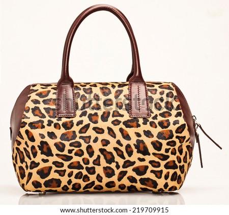 Handbag Satchel Fashion in Leopard - stock photo