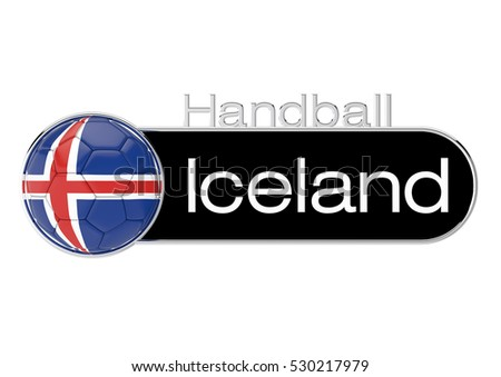 Handball with Iceland flag, Version 3, 3D-Rendering