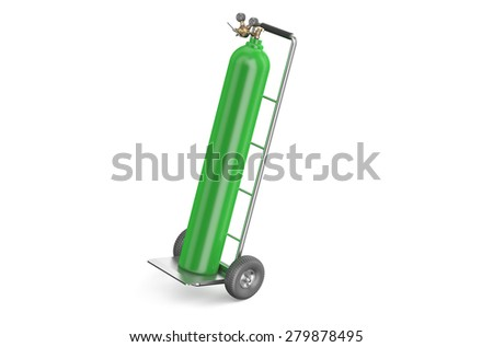 handcart with green gas cylinder  isolated on white background - stock photo