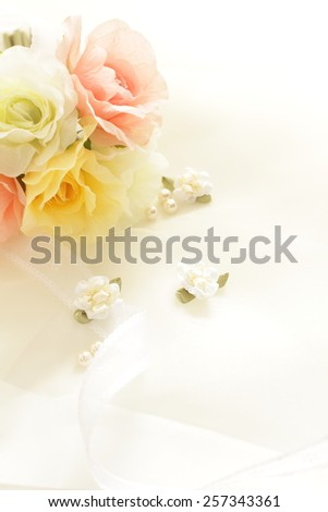 handcraft flower and ribbon for wedding image - stock photo